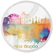 Las Vegas Nevada Skyline  Round Beach Towel