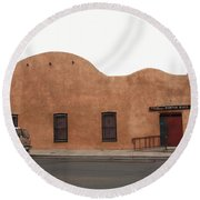 Las Vegas New Mexico Church Round Beach Towel
