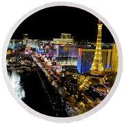 City - Las Vegas Nightlife Round Beach Towel