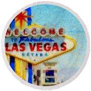 Las Vegas Sign Round Beach Towel