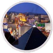 Las Vegas Skyline Round Beach Towel by Brian Jannsen