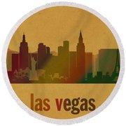 Las Vegas Skyline Watercolor On Parchment Round Beach Towel