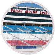 Las Vegas Speedway Grandstands Round Beach Towel