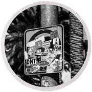 Las Vegas Sticker Sign Round Beach Towel