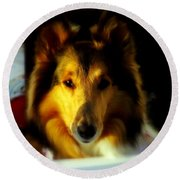 Lassie Come Home Round Beach Towel by Karen Wiles