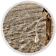 Lasso And Hat On Fence Post Round Beach Towel