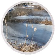 Last Days Of Winter Round Beach Towel