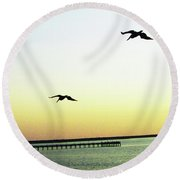Last Flight Of The Day Round Beach Towel