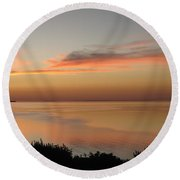 Last Golden Rays Of Light Round Beach Towel