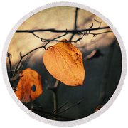 Last Leaves Round Beach Towel