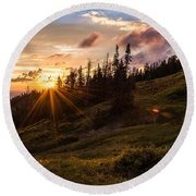 Last Light At Cedar Round Beach Towel by Chad Dutson