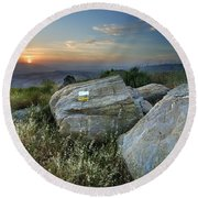 Last Light At The Windy Mountains Round Beach Towel