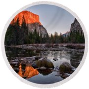 Last Light At Valley View Round Beach Towel