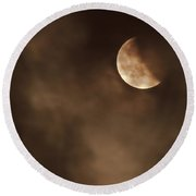 Last Stage Of The Total Lunar Eclipse April 15 Blood Moon Through The Clouds Round Beach Towel