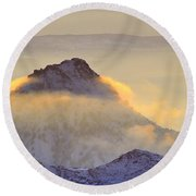 Last Sunset Light In The Clouds Round Beach Towel
