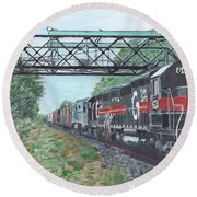 Last Train Under The Bridge Round Beach Towel by Cliff Wilson