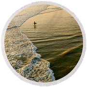 Last Wave - Lone Surfer Waiting For The Perfect Wave In Huntington Beach Round Beach Towel