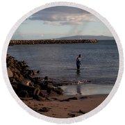 Late Afternoon Angler - Maalaea-maui Round Beach Towel