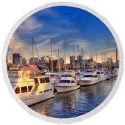 Late Afternoon At Constitution Marina - Charlestown Round Beach Towel