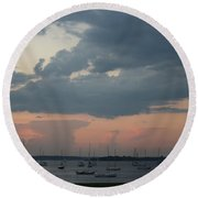 Late Afternoon Clouds Round Beach Towel