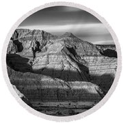 Late Afternoon In The Badlands Round Beach Towel