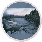 Late Afternoon In Winter Round Beach Towel