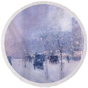 Late Afternoon - New York Winter Round Beach Towel
