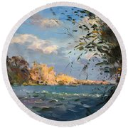 Late Afternoon On Goat Island Round Beach Towel
