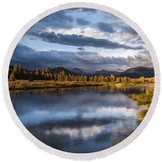 Late Afternoon On The Tuolumne River Round Beach Towel