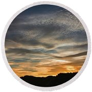 Late Afternoon Sky Round Beach Towel