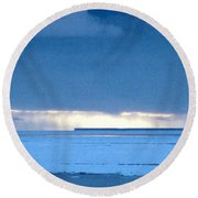 Late Afternoon Storm Antarctica Round Beach Towel