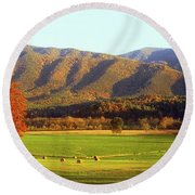 Late Autumn Afternoon In Cades Cove Round Beach Towel