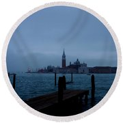 Late Evening In Venice Round Beach Towel