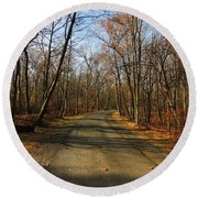 Late Fall At Cheesequake State Park Round Beach Towel