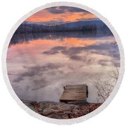 Late Fall Early Winter Round Beach Towel