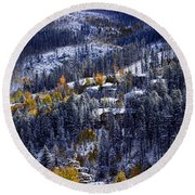 Late Fall In Vail Round Beach Towel
