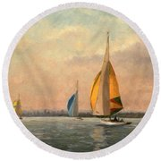 Late Finish  Featuring Dragons On The Medway Round Beach Towel