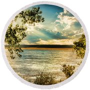 Late Summer Afternoon On The Mississippi Round Beach Towel