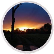Late Sunset And Tree Round Beach Towel