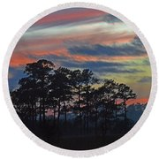 Late Sunset Trees In The Mist Round Beach Towel