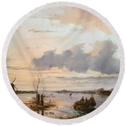 Late Winter In Holland Round Beach Towel