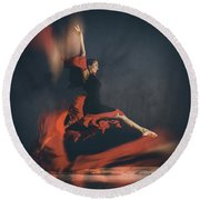 Latin Dancer Round Beach Towel by Stelios Kleanthous