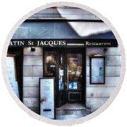 Latin St Jacques Paris France Round Beach Towel