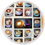 Latte Art Collage Round Beach Towel