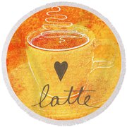 Latte Round Beach Towel by Linda Woods