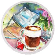 Latte Macchiato In Italy 01 Round Beach Towel