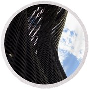 Lattice With Blue Sky And Clouds Round Beach Towel