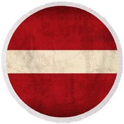 Latvia Flag Vintage Distressed Finish Round Beach Towel