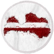 Latvia Painted Flag Map Round Beach Towel