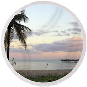 Lauderdale By The Sea Florida Sunset Round Beach Towel